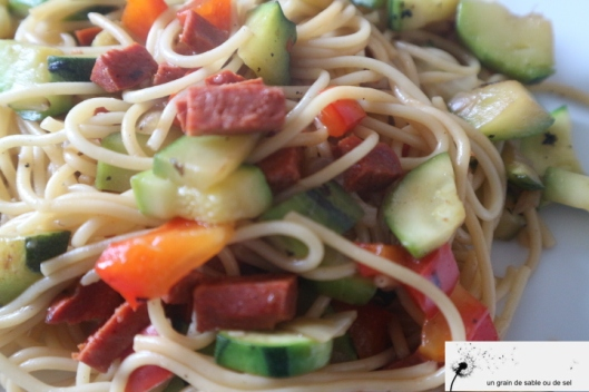spaghettis aux petits légumes & chorizo
