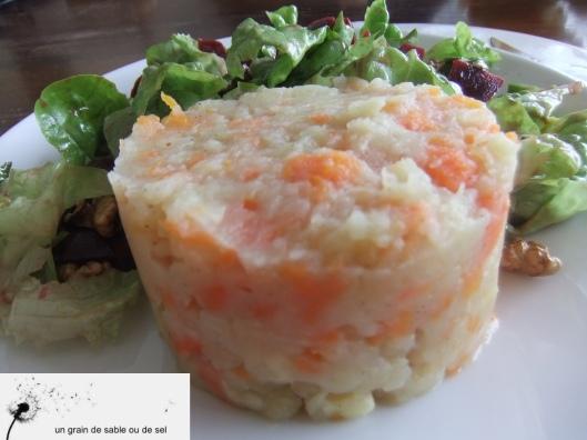 écrasé de pommes de terre-panais-carottes